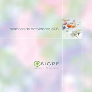 Portada de la Memoria de Actividades de SIGRE 2008
