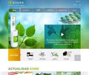 Pantallazo de la home de la página web de SIGRE